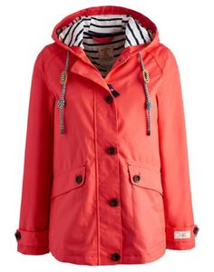 Joules Women's Waterproof Hooded Jacket, Bright Pink.                     Part of our Right as Rain collection this shorter boxy style jacket is the perfect accompaniment to any British summer wardrobe.  Buttoned and zipped too and with a soft jersey lining it's comfortable while taped seams make it 100% waterproof.