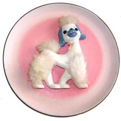 Vintage Kitsch Poodle Plate Wall Hanging