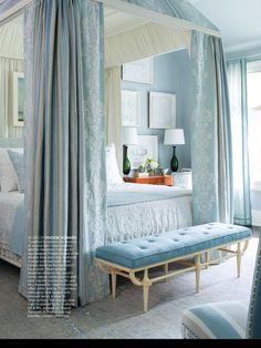 Pretty - I could do without the canopy and drapes as it is a little overwhelming and hides the loveliness of the room. Still beautiful of course. Love the colors & The bench at foot of bed.