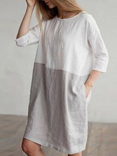 2875c13f674 Plus Size Women Shift Daily 3 4 Sleeve Linen Color-block Dress