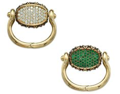 Emerald and diamond reversible bracelet by René Boivin