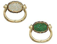 Emerald and diamond reversible bracelet by René Boivin