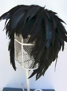 Feather Wig Ebony Iridescent Raven Black Chic Posh Fashion. $38.00, via Etsy.