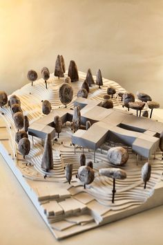 maquette architectural model of wood, paper, cardboard, plaster of Yasmina … - Architecture Design Ideas Maquette Architecture, Landscape Architecture Model, Architecture Model Making, Landscape Model, Architecture Panel, Architecture Drawings, Architecture Design, Architecture Student, Architecture Portfolio