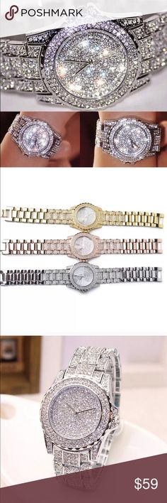 🎉HP🎉One Available Now 💎 This listing is for the Absolutely Stunning Silver Watch, Brilliant Crystals. Brand New Boutique Quality Absolutely Stunning Silver Plated over Stainless Steel for wear and shine longevity. Major Bling caution while driving, light reflects at every angle...removable links allow for a custom fit. I will lower the price to $50 providing you with additional discount shipping 💐 Accessories Watches