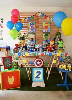 decoracin para fiesta infantil de super heroes Superman Birthday Party, Superhero Theme Party, Avengers Birthday, Batman Party, 3rd Birthday Parties, Birthday Party Decorations, Hulk Party, Baby Avengers, Pokemon Party