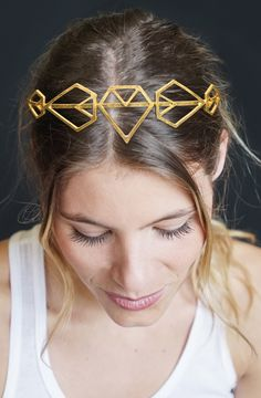 The Bride will love this gold headband in diamond shapes - perfect for a Bridal Shower or other Wedding event!