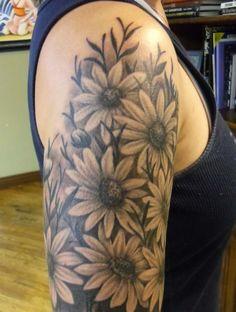 Black  Daisy Tattoo