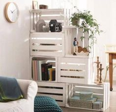 25 Ways of Reusing Old Wooden Crates in Your Interior Design Raumteiler/ Sichtschutz Mehr The post 25 Ways of Reusing Old Wooden Crates in Your Interior Design appeared first on Raumteiler ideen. Decor, Room Divider Shelves, Staircase Bookshelf, Diy Furniture, Home Decor, Apartment Decor, Crate Furniture, Room Partition, Cool Furniture