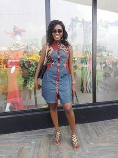 Ankara n denim jeans dress shirt African Fashion Ankara, African Dresses For Women, African Print Fashion, Africa Fashion, African Attire, African Clothes, African Inspired Clothing, Ankara Long Gown Styles, African Print Dress Designs
