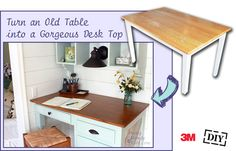 Turn an old tabletop into a wood desk top at @Pretty Handy Girl