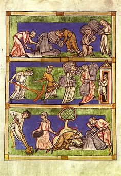 """Fragment(single leaf) of a Speculum Virginum ms., late 13th or eqrly 14th century, Rheinisches Landesmuseum No. 15326, illustration showing the """"Three Conditions of Woman"""", viz. virgins, widows and married wives, in a harvest allegory. The virgins reap hundredfold, the widows sixtyfold, the wives thirtyfold."""