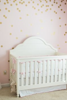 Baby girl nursery. Wendy Bellissimo by LC Kids Inspirations Grow with Me Convertible Crib @potterybarnkids #flamingo #pink #flamingo #nursery #babygirl #gold #diy #pineapple #bows #pompoms #golddots #katespade