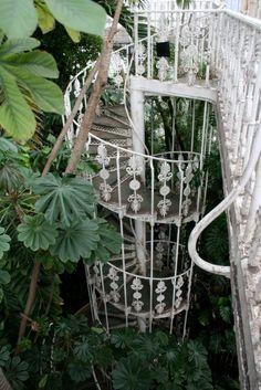 cast iron spiral stair case. green house. vintage . (flickr,heroin)