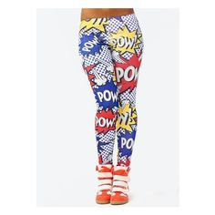 graphic pow leggings ($19) ❤ liked on Polyvore