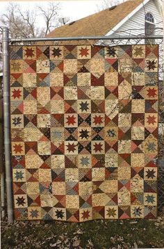 Primitive Folk Art Quilt Pattern  BATTLEFIELD by PrimFolkArtShop, $8.75