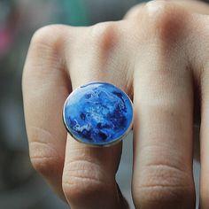 Minimalist Ring, Blue Statement Resin Ring
