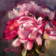"""Head first"" is an original 6""x6"" oil painting by Lancaster, Pa artist Kim Smith. #homedecor #walldecorinspiration #kimsmithartist #peonypainting #peonyart #floralinteriordesign"