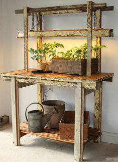 ECOGRO Potting Table Grow Bench by ECOGRO on Etsy -- Mazur Mazur Battistelli, you need something like this in your kitchen! Garden Projects, Wood Projects, Upcycling Projects, Woodworking Projects, Potting Tables, Plant Table, Potting Sheds, Unique Gardens, Garden Furniture