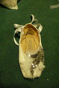 custom decorated pointe shoe  swan lake by PointePerfection1, $15.99