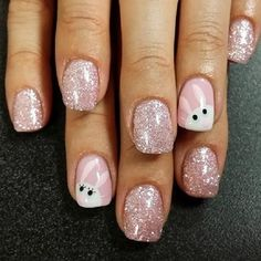Sparkly Pink Nails for Easter - 12 Easter-Inspired Nail Art Designs and Tutorials | GleamItUp