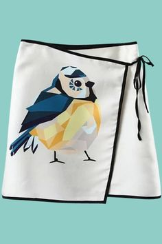 How cute is this Bird Print Lace-Up Skirt