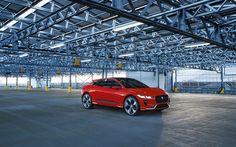Download wallpapers Jaguar I-Pace, 2018 cars, parking, electric cars, red I-Pace, Jaguar