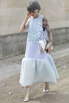 The most serene mint hue with the boldest of necklaces. #pfw #streetstyle #ss14