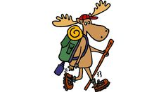 Cool Funny Moose Hiking withBackpack is a T Shirt designed by SmileToday to…