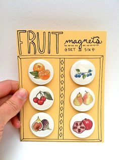 Fruit Magnets, Set of 6. $12.00, via Etsy.