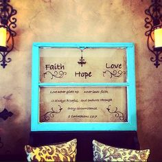 Large old barn house 2 pane window distressed with turquoise paint with bible scripture. Diy Old Windows Ideas, Diy Windows, Window Ideas, Windows And Doors, Window Panes, Window Art, Old Window Crafts, Home Crafts, Diy Crafts