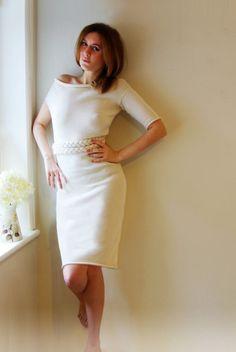 Little White Dress unique design 100 merino by BabyBlickBoutique