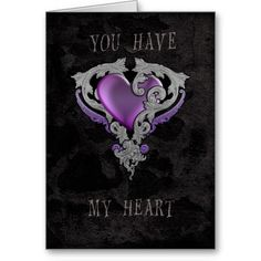 Goth Valentine Card with purple heart and ornate decoration