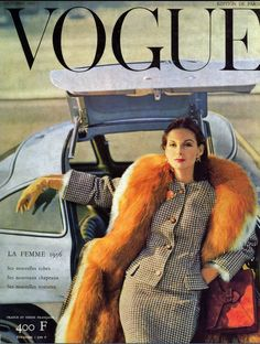 1955 Anne St. Marie wearing couture by Lanvin, Paris Vogue cover by Henry Clarke, October
