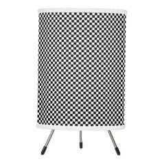 #black - #Vintage Black and White Checker Print Tripod Lamp