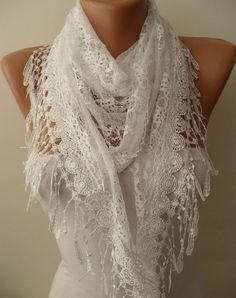 White Shawl  White Laced Fabric and Special White by SwedishShop, $17.90