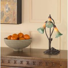 Amber Lily Flower Accent Table Lamp with LED Bulbs