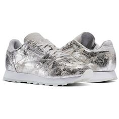 6e8adf5eb575e7 Reebok Classic Leather Dynamic Chrome Women s Retro Running Shoes in Silver  Met   Skull Grey   White