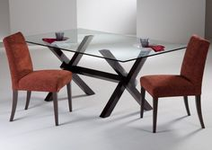 modern glass dining table with red chairs