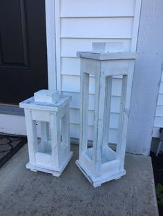 free wooden lantern plans - make a tall and short one with scrap wood!
