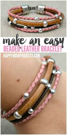 Easy DIY Beaded Leather Bracelet at www.happyhourprojects.com   A glue-and-go design - if you can measure, cut. and glue, then this DIY is perfect for you!