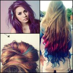 colourful hair  bright ombre pretty bun all from  #tumblrhair
