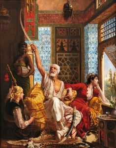 An 1883 oil painting by Walter Charles Horsley, titled ''Women and an Old Man in the Harem,'' recalls Western artists' depictions of the East, though few painters had seen such scenes themselves. Horse Pictures, Art Pictures, Art Images, Victorian Paintings, European Paintings, Abstract Face Art, Arabian Art, Stoner Art, Art For Art Sake