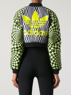 ADIDAS ORIGINALS BY JEREMY SCOTT - Op Art bomber jacket  Multi-coloured 'Op Art' bomber jacket from Adidas Originals By Jeremy Scott featuring a high standing collar, a zip fastening, flap and button pockets, wide raglan sleeves , an all-over optical print, ribbed cuffs, a ribbed hem and a reversible design. #wokstore