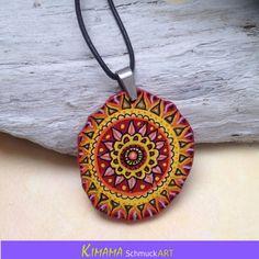 Mandala Amulett Kunst Kette Zentangle Schmuck Boho von KIMAMAdesign