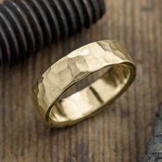6mm 14k Yellow Gold Mens Wedding Band, Hammered Matte - Point No Point Studio - 1