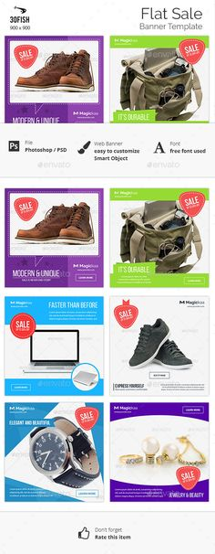 Buy Flat Sale Banner by on GraphicRiver. Flat Sale Banner is web banner template contain various design for various sale or promotion or discount. It's flat d.