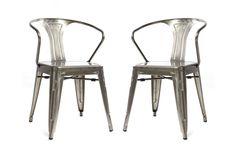 Lot de 2 chaises design industriel métal effet inox FACTORY prix promo Miliboo 249,00 € TTC