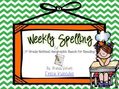 Weekly Spelling Lists for Nat Geo's Reach for Reading 1st Grade  By: Firstie Kidoodles