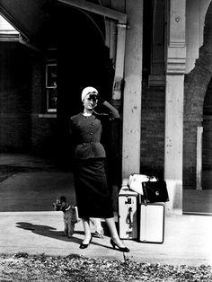 Audrey Hepburn at the Glenn Cove Train Station in Sabrina, 1954